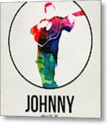 Johnny Cash Watercolor Metal Print