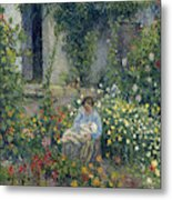 Julie And Ludovic-rodolphe Pissarro Among The Flowers, 1879 Metal Print