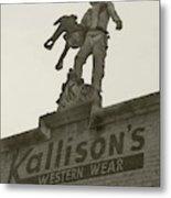 Kallison Cowboy Still Stands In San Antonio Metal Print