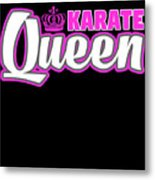 Karate Queen Cute Martial Arts Training Metal Print