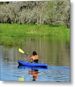 Kayaker In The Wild Metal Print