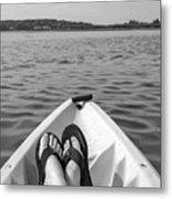 Kayaking In Black And White Metal Print