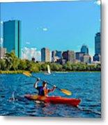 Kayaking On The Charles Metal Print