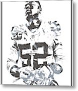 Khalil Mack Oakland Raiders Pixel Art 35 Metal Print