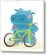 Kid Cute Hippo With Bicycle Childish Metal Print