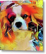 King Charles Spaniel On The Move Metal Print
