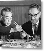 Kissinger Eating With Zhou Enlai Metal Print