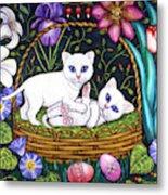 Kittens In A Basket Metal Print