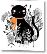 Kitty Kitty Sitting Pretty With Flowers All Around Metal Print