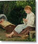 Knitting Girl Watching The Toddler Metal Print