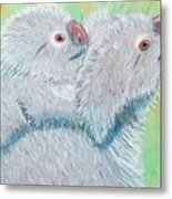 Koala With Baby - Pastel Wildlife Painting Metal Print
