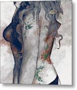 Koi No Yokan - Blue Rust - Erotic Drawing, Sexy Tattoo Girl In Thong Biting An Apple Metal Print