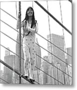 Kusama On The Brooklyn Bridge Metal Print