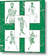 Kyrie Irving Boston Celtics Panel Pixel Art 1 Metal Print