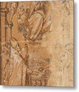 La Virgen En Gloria Apareciendose A Varios Santos  Metal Print