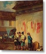 Labourer Reading A Proclamation, Macao Metal Print