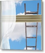 Ladder Against Window Pane Metal Print
