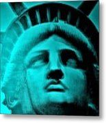 Lady Liberty In Turquoise Metal Print
