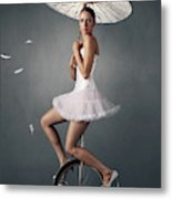 Lady On A Unicycle Metal Print
