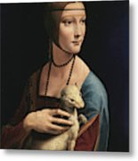 Lady With An Ermine, 1489 Metal Print