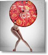 Lady With Red Shoes And Parasol Metal Print