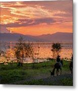 Lake Chapala Sunset And Horses Metal Print