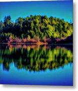 Lake Double Reflection Metal Print