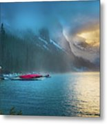 Lake Louise Canoes In The Morning Metal Print