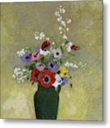 Large Green Vase With Mixed Flowers, 1912 Metal Print