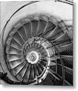 Lblack And White View Of Spiral Stairs Inside The Arch De Triump Metal Print