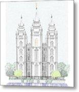 Lds Salt Lake Temple - Colorized Metal Print