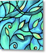 Leaves And Curves Art Nouveau Style II Metal Print