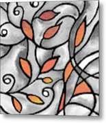 Leaves And Curves Art Nouveau Style Xii Metal Print