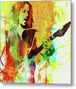 Legendary Kirk Hammett Watercolor Metal Print