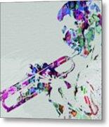 Legendary Miles Davis Watercolor Metal Print