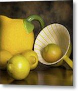 Lemons With Lemon Shaped Pitcher Metal Print