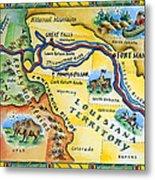 Lewis & Clark Expedition Map Metal Print