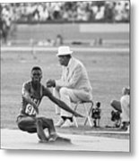 Lewis In The Long Jump At Olympics Metal Print