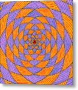 Light Violet On Blue, Yellow On Red Fractal Pattern Metal Print