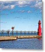 Lighthouse And Pier On Lake Michigan Metal Print