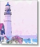 Lighthouse, Cape Elizabeth, United States -  Watercolor By Ahmet Asar Metal Print