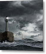 Lighthouse Shining Over Stormy Ocean Metal Print