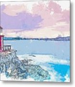 Lighthouse, Sydney, Australia -  Watercolor By Ahmet Asar Metal Print
