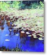 Lilies On Blue Water Metal Print