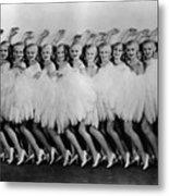 Line Of Chorus Girls In Feathered Metal Print