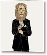 Lion Dressed Up In Tuxedo With Tattoo Metal Print