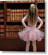 Little Girl In Tutu Reading Book Covers Metal Print