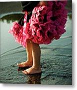 Little Girls Feet Splashing And Dancing Metal Print