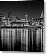Liverpool Skyline In The Night Black And White Metal Print