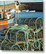 lobster pots and trawlers at Dunbar harbour Metal Print